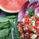 Recipe for a refreshing watermelon, mint, cucumber salsa