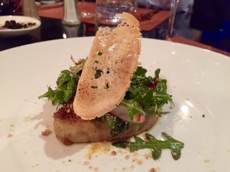 Seared foie gras with arugula and berries as an entree (starter) at Comptoir Cuisine