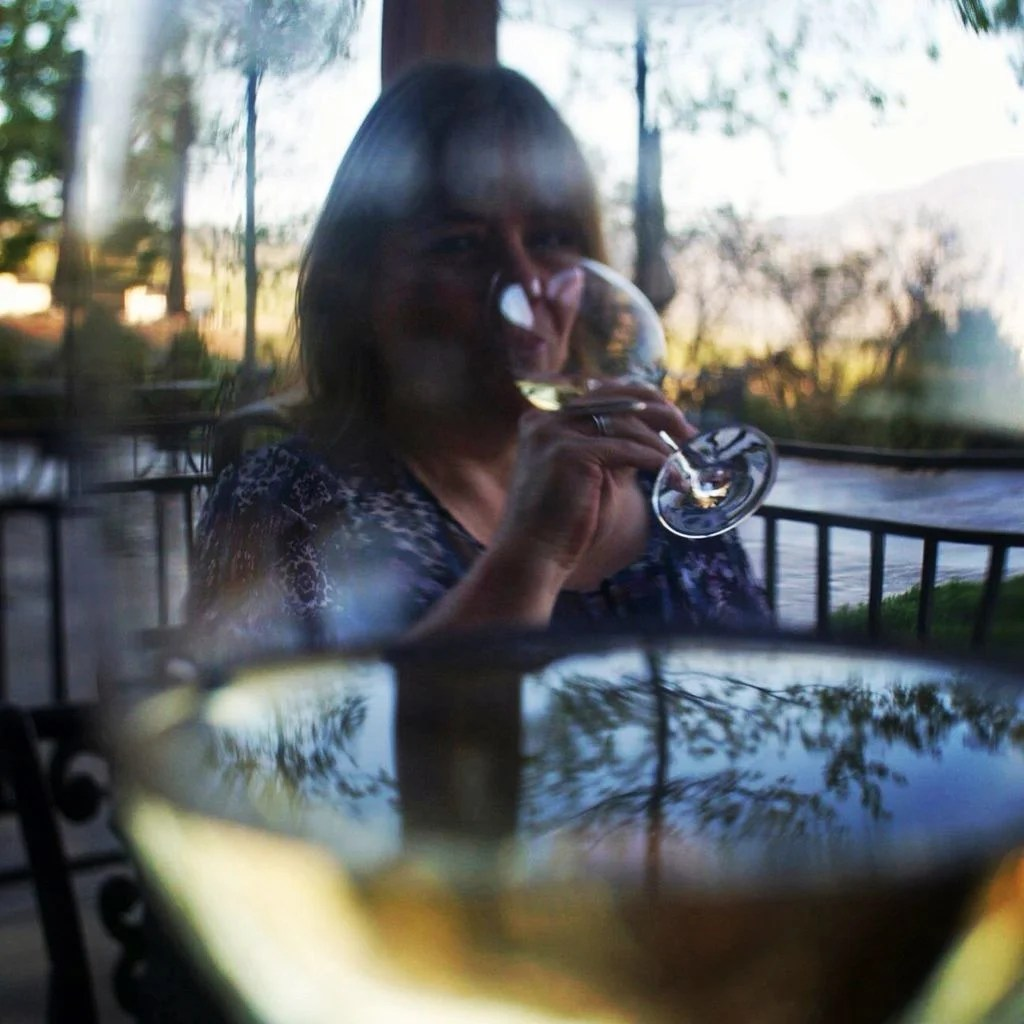 Sipping wine at Hester Creek | TheCulinaryTravelGuide.com