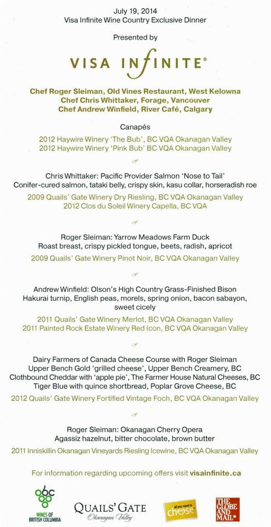 Menu at the Visa Infinite Wine Country Exclusive Dinner at Old Vines Restaurant