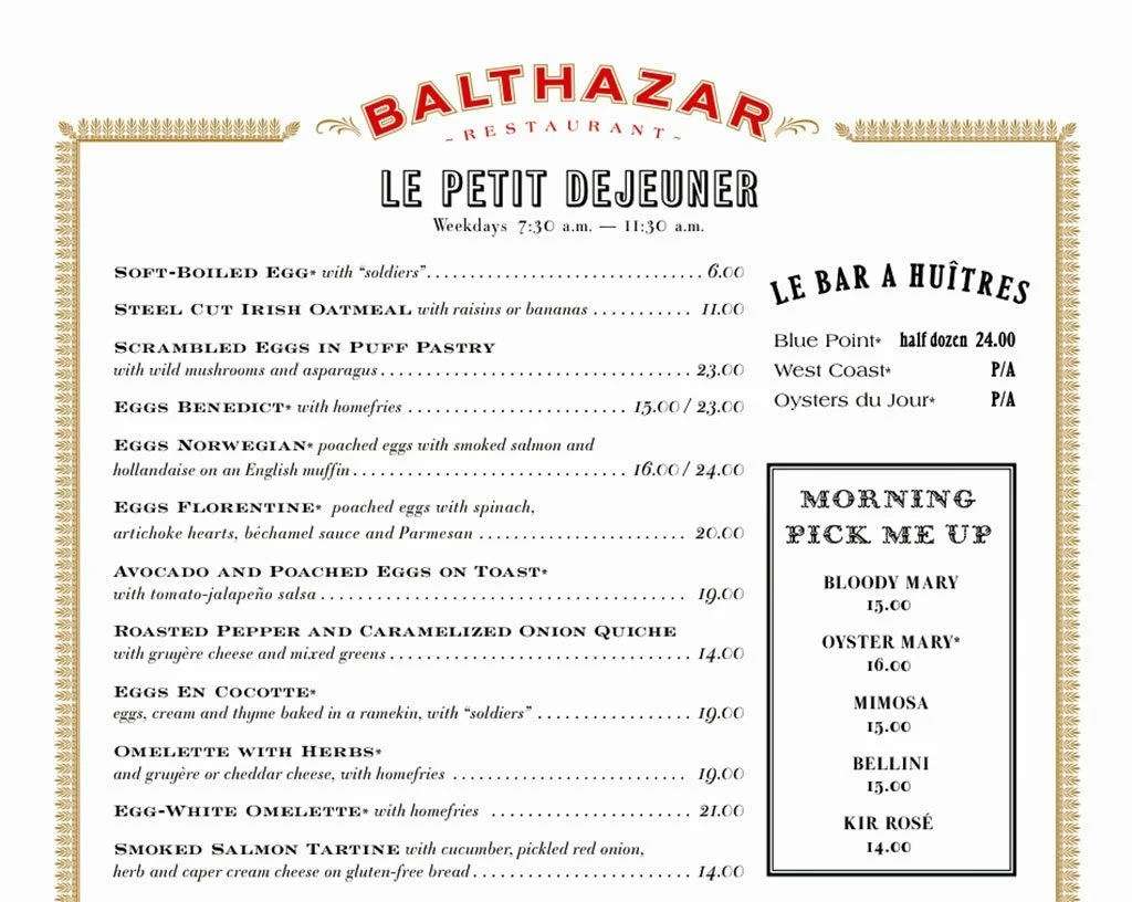 Menu at Balthazar, NYC