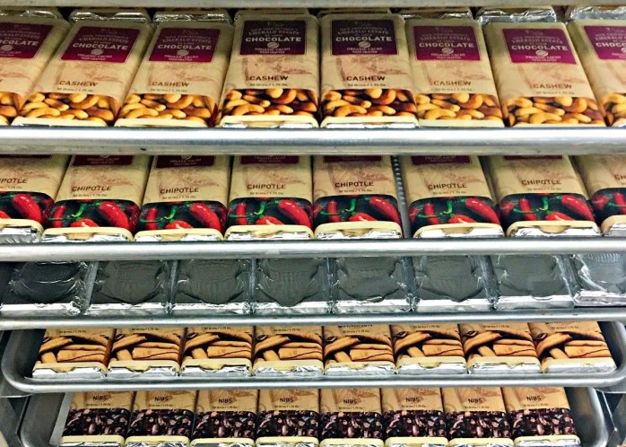 trays of chocolate bars with the Jade Mountain label