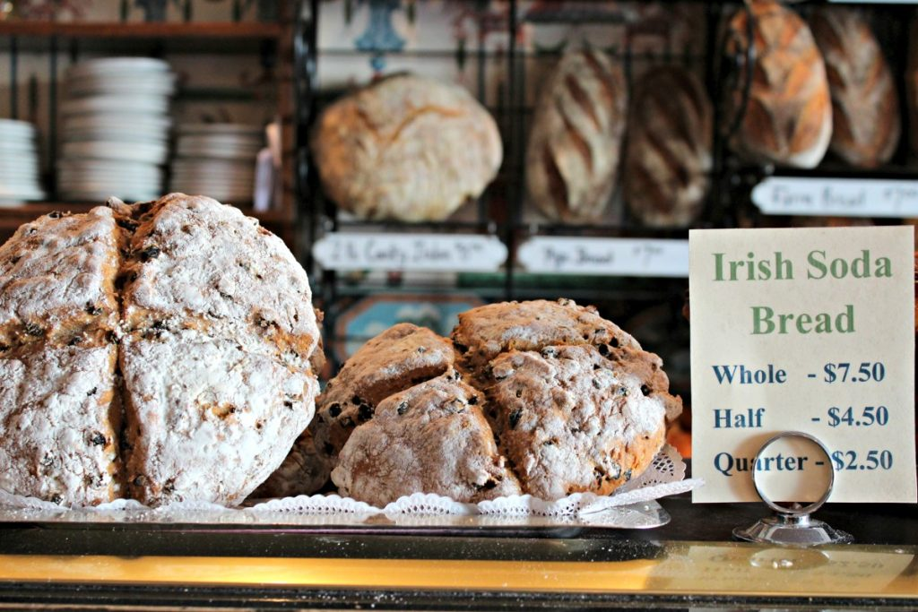 Local bakery display of fresh crusty breads,Irish Soda Bread being the main attraction on this particular morning.