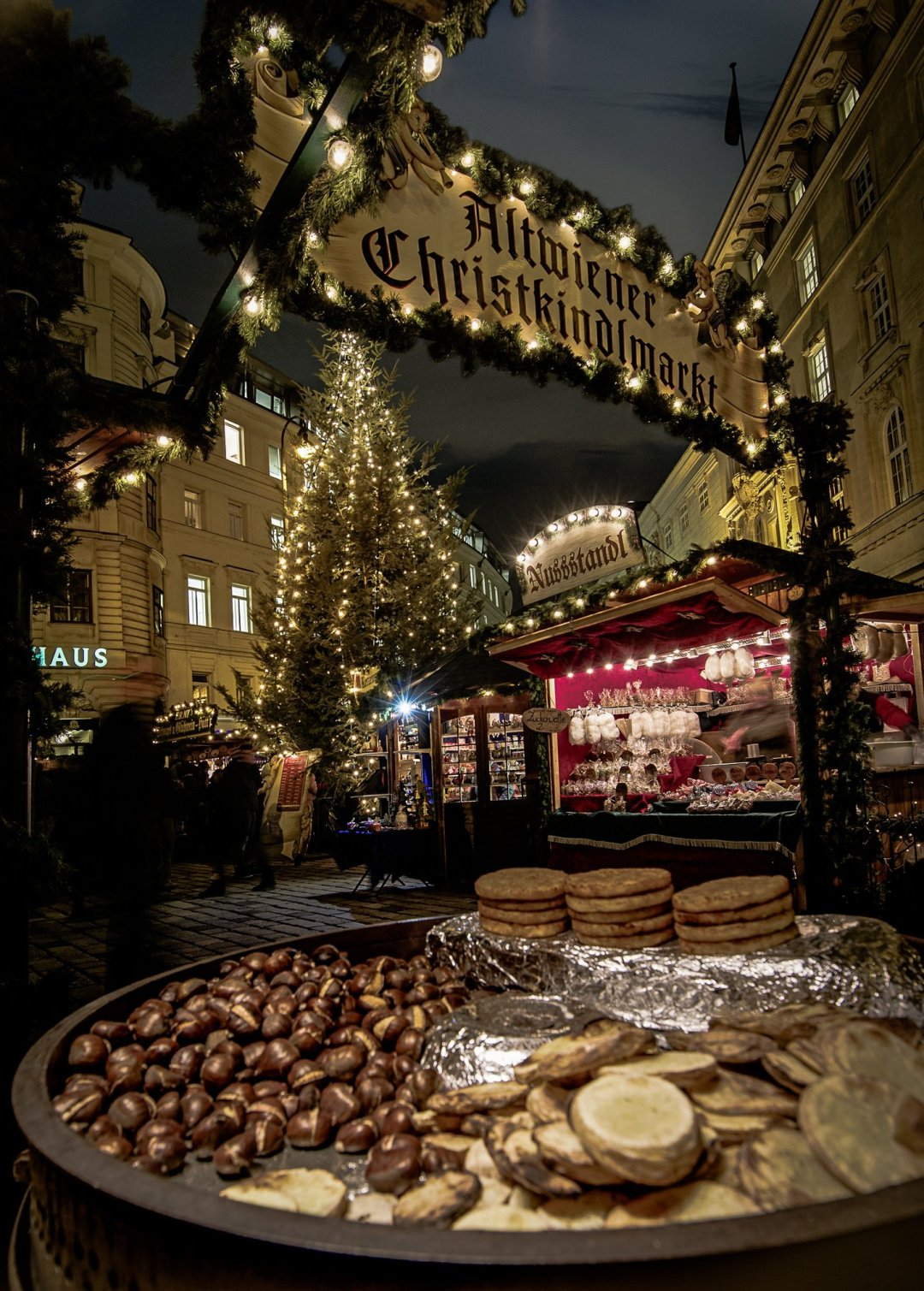 Old Viennese Christmas Market at night