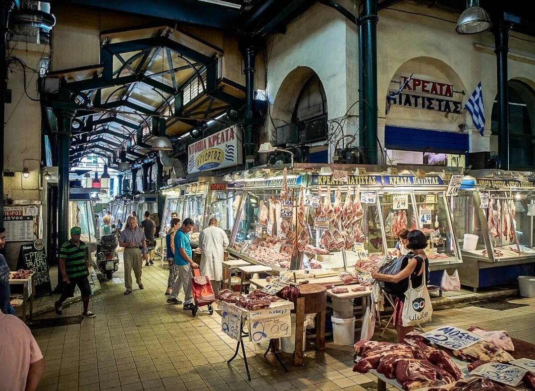 Athens, Greece - July 2, 2018. A butchery of Varvakios, Central Market of Athens. Attica region, Greece.