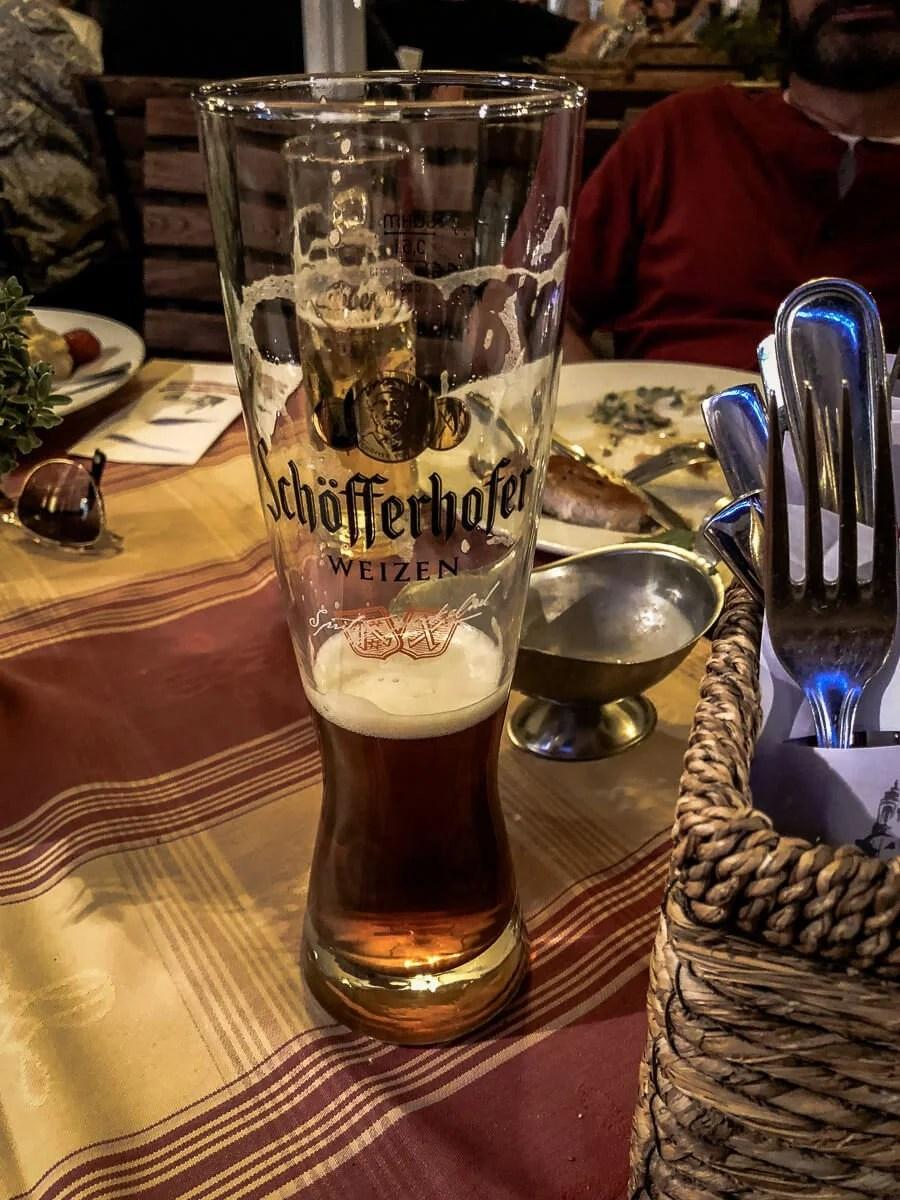 A glass of Schofferhofer on a table