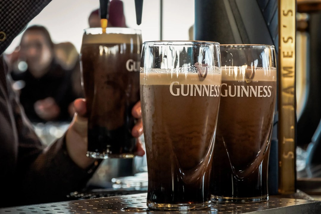 2 Days in Dublin Itinerary: Pints of beer are served at The Guinness Brewery on Feb 15, 2014. The brewery where 2.5 million pints of stout are brewed daily was founded by Arthur Guinness in 1759.