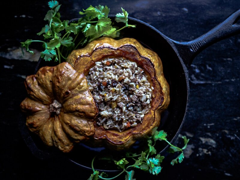 Ghapama - Armenian stuffed roasted pumpkin