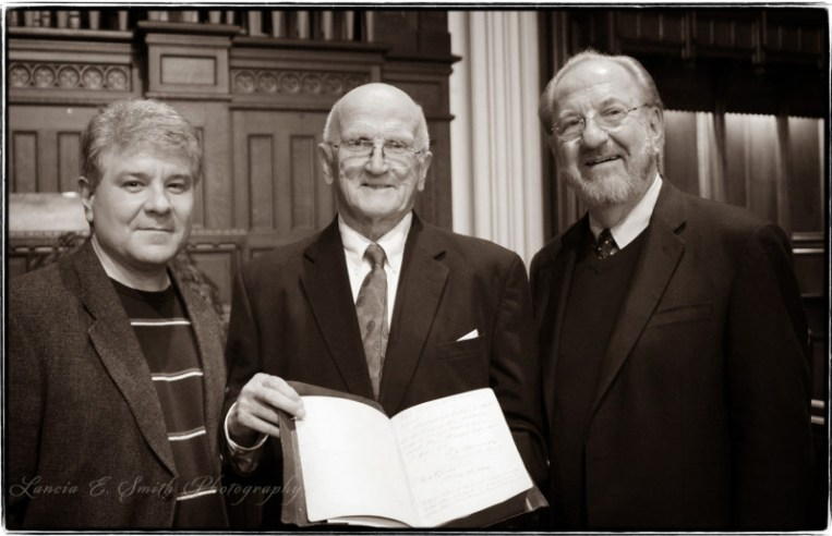 Kevin Belmonte, Dave Powell, and Stan Mattson at Sage Chapel - Northfield, MA - Image copyright Lancia E. Smith and the C.S. Lewis Foundation