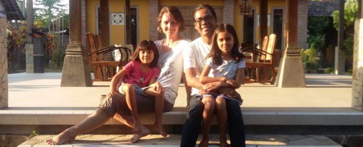 Silke Irmscher with her husband and children
