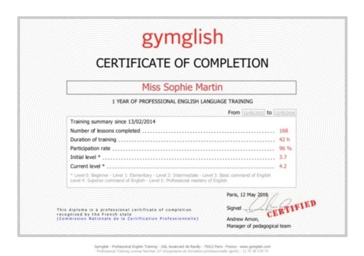 gymglish diploma