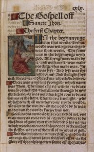 The Tyndale Bible: first page of the Gospel of John