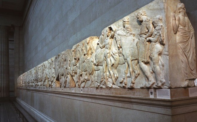 Elgin marbles, currently held in the British Museum. The Greeks want them back.