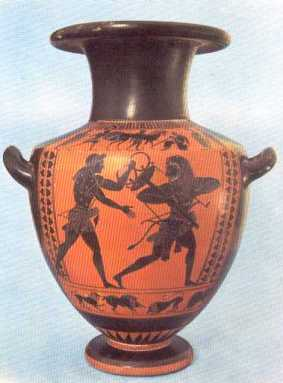 Greek vase depicting Heracles and Apollo