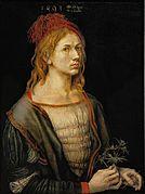 Portrait of the Artist Holding a Thistle, Albrecht Dürer, 1493