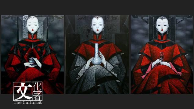 邱勝賢畫中此終如一的光頭女子