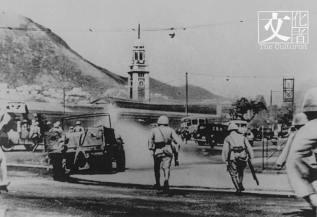 1941年日軍進佔九龍尖沙咀的情況。 (政府檔案處提供)