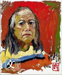 龐均於2010年的自畫像,色彩豐富京秉承了西方野獸派的風格。