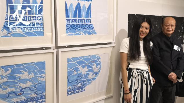 香港重量級國畫家徐子雄(右)與畢業於中央美院的許開嬌(左)。