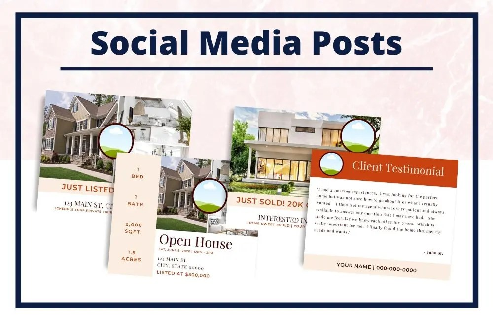 The Gina Collection - Social Media Posts - Real Estate Branding Bundle for Women