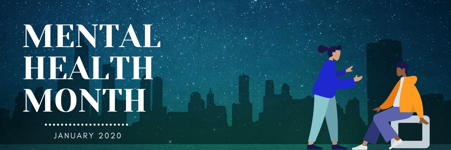 A city at night with two people seated on the right corner. On the left corner are the words: Mental Health Month: January 2020