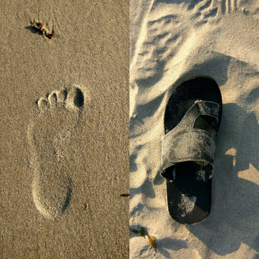 Two sets of footprints, one with the leg and the other with a slipper