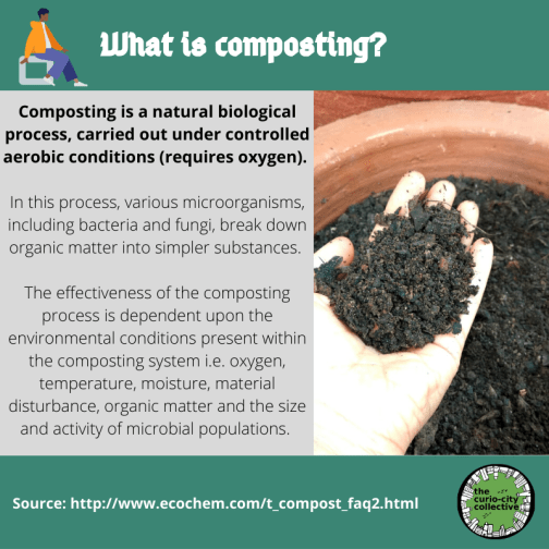 Composting is a natural biological process, carried out under controlled aerobic conditions (requires oxygen).   In this process, various microorganisms, including bacteria and fungi, break down organic matter into simpler substances.   The effectiveness of the composting process is dependent upon the environmental conditions present within the composting system i.e. oxygen, temperature, moisture, material disturbance, organic matter and the size and activity of microbial populations.