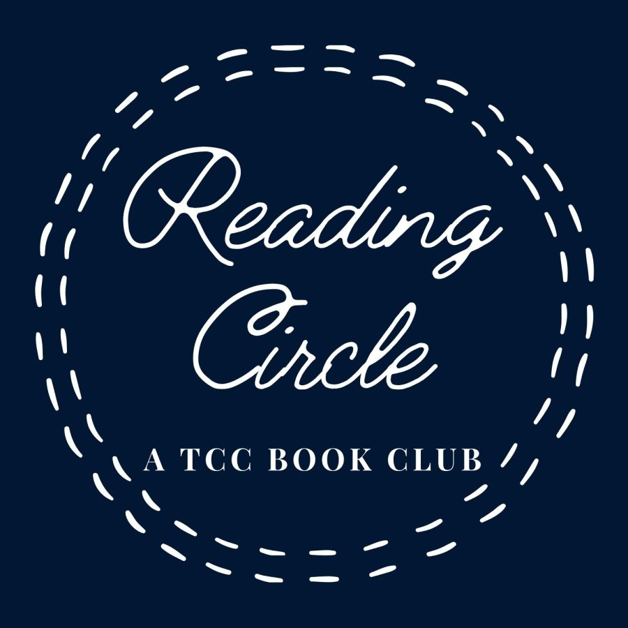 Logo of our reading circle which is deep blue background and has stitches around the words reading circle: A TCC book club.