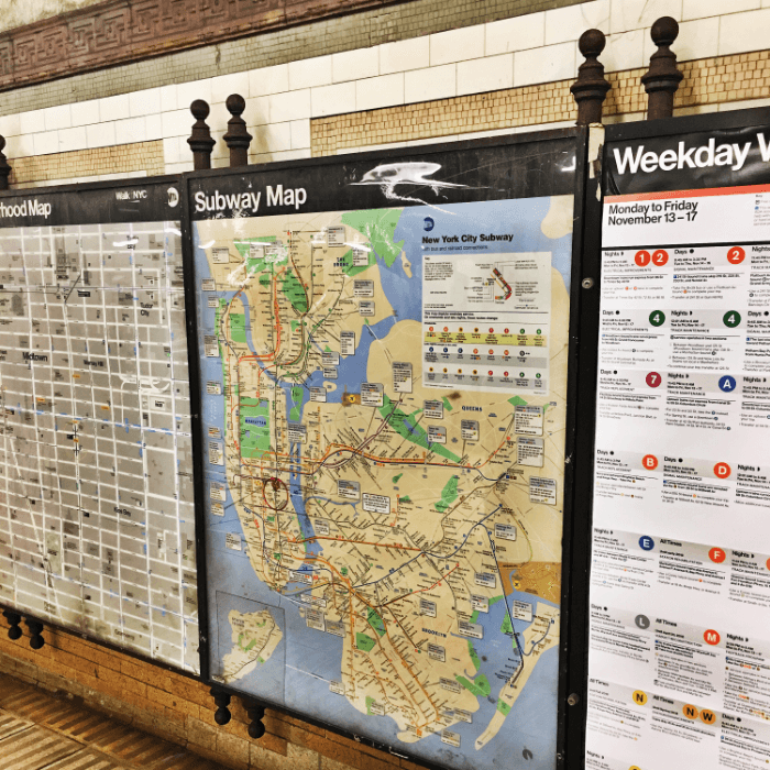 Maps hanging on the walls in the subway