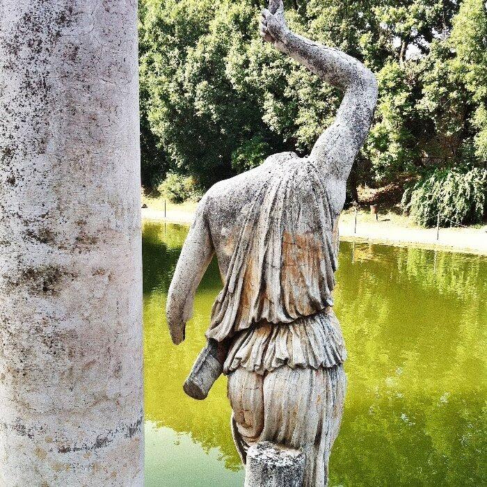 an ancient Roman statue in Tivoli