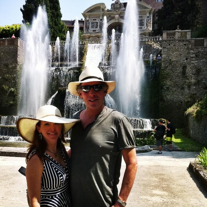 The Curious Cowgirl and Will Evans at Villa d'Este in Tivoli Italy