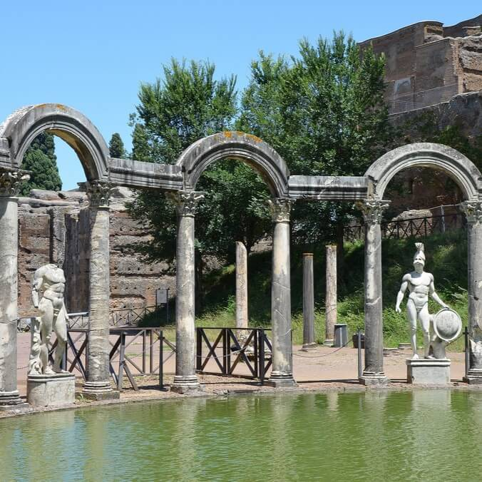Ruins and Sculptures in Hadrian's Villa in Tivoli Italy