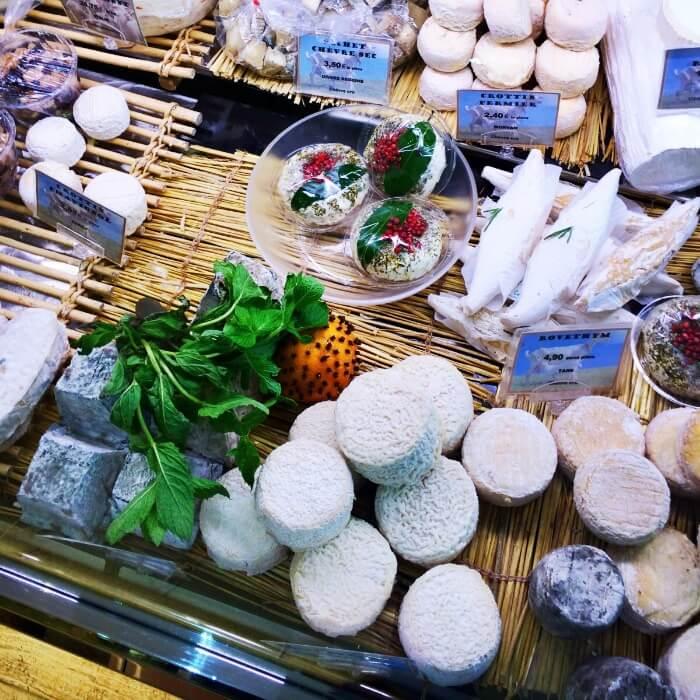 cheese display in Paris