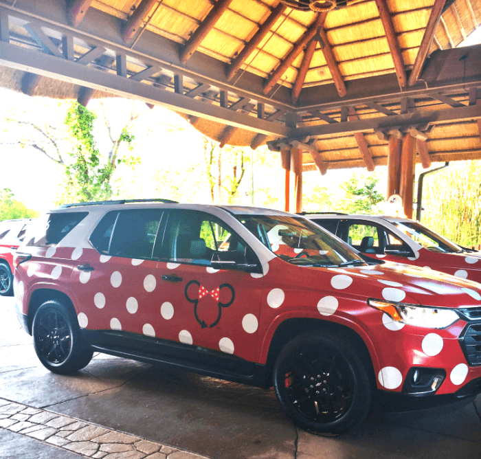 Mini Van decorated in red and white polka dots