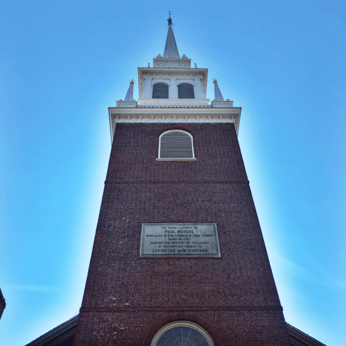 The Old North Church Tower made famous during the Paul Revere Ride