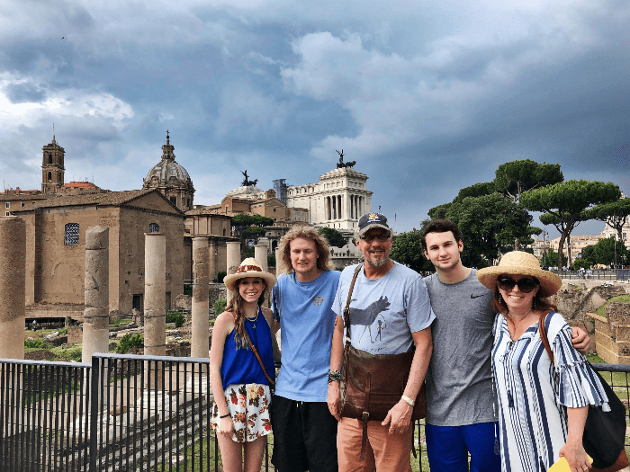 Kids and parents in the Roman Forum