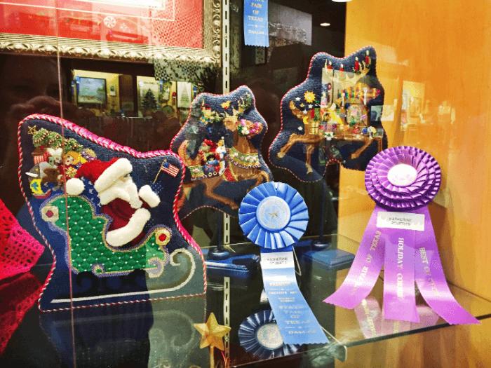 Ribbon Winners Santa and Reindeer Needlepoint