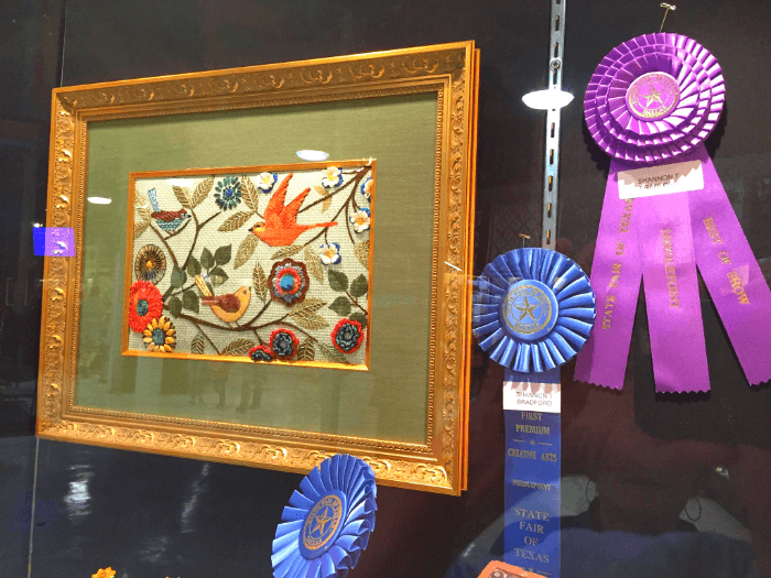 Ribbon Winners Framed Needlework Purple and Blue Ribbons