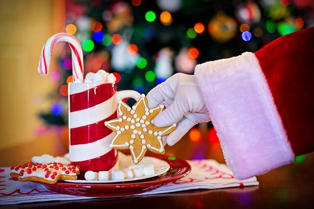 Santa's hand holding a cookie