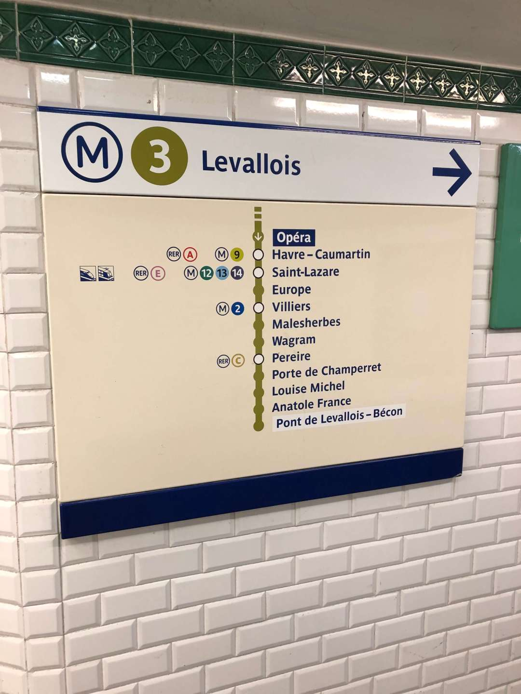 Paris Metro directional sign