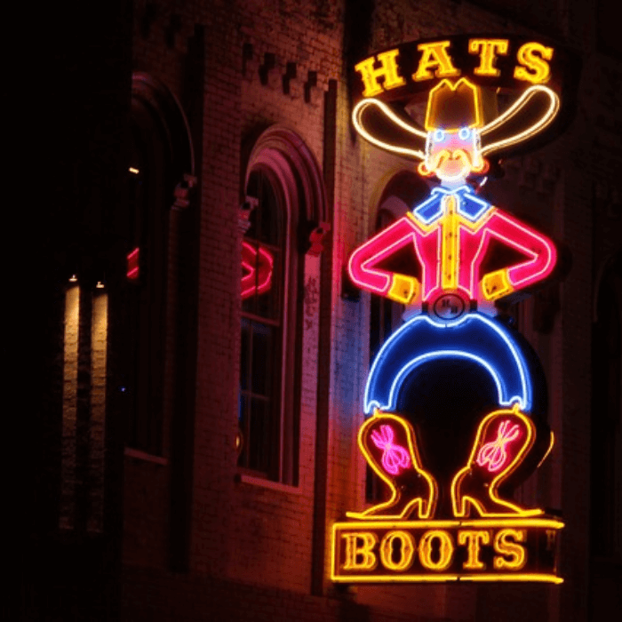 Neon Cowboy sign in Nashville