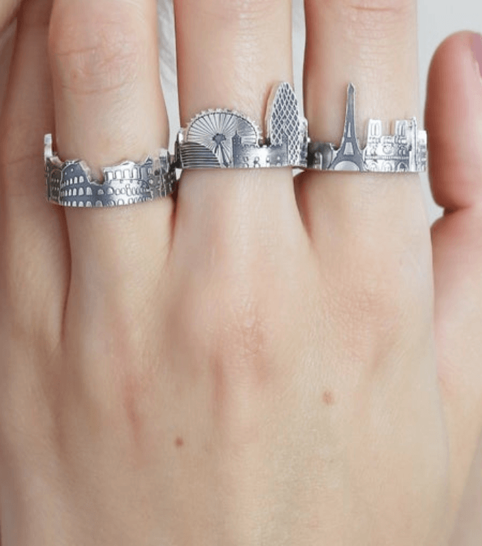 three silver rings on three fingers