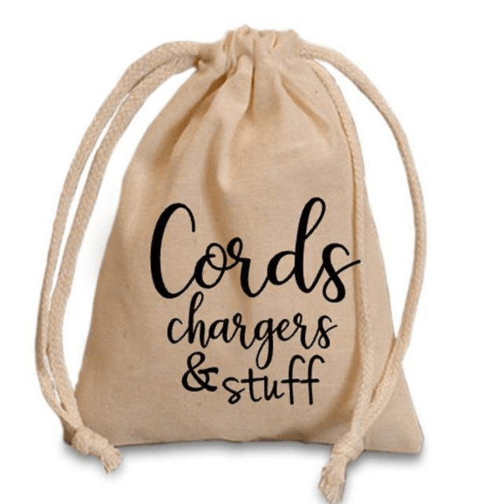 brown drawstring bag with lettering