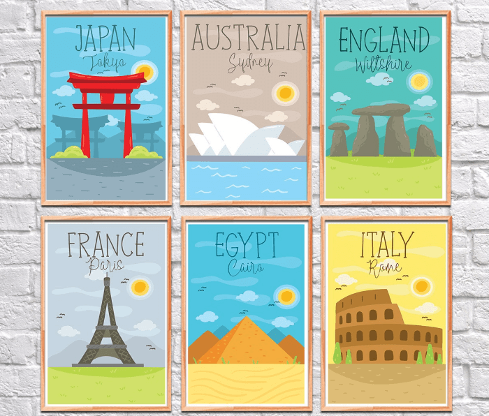 6 colorful travel posters