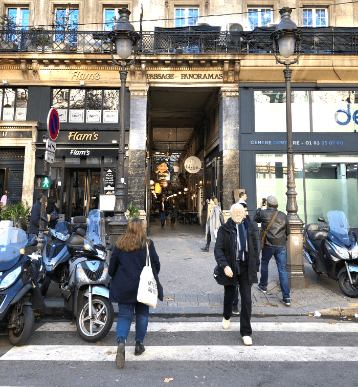 Street View of the entrance to the Paris Passage Panoramas