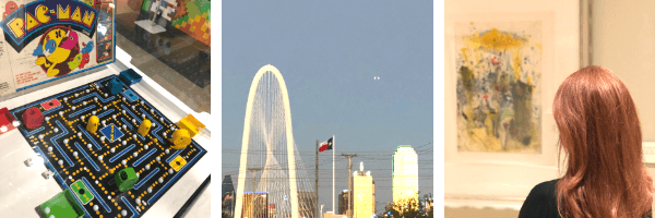 Three pictures showing different entertainment venues in Dallas