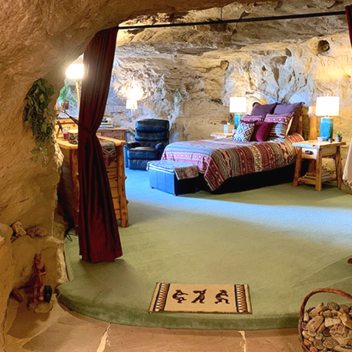 Bedroom built inside a cave