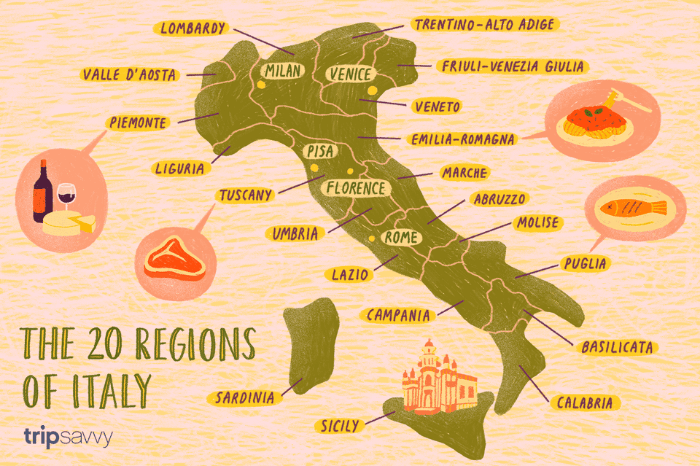 Map of the Regions of Italy