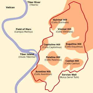 a map of the seven hills of Rome