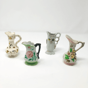 4 Mini White Bud Vases